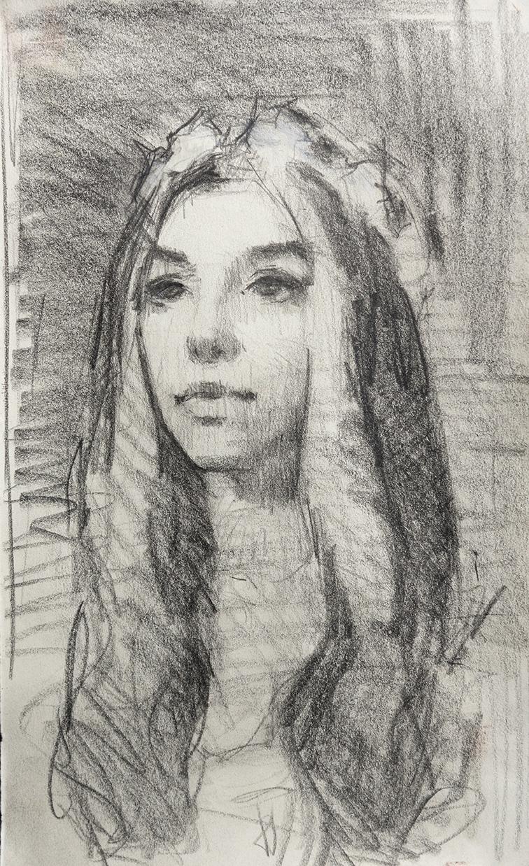"A small sketchbook study done from life during the planning and inspiration stages for a painting called, ""The Bride."""
