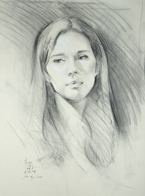 For My Love  charcoal and white chalk on buff paper I created this life study of my wife, Mirjam, during a weekly portrait group I attended. On our anniversary in 2005, Mirjam sat for the group that night so we could be together.