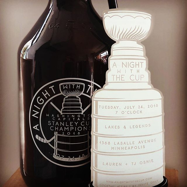 Oh what a night it was...with the cup! Metal mini Stanley Cup invites started this party off right. What was to follow was another amazing production by @lindsaypiramcreative - celebrating the win of hometown hockey hero TJ Oshie of the Washington Capitals. The party ended just as sweet with custom growlers by @lakesandlegends #anightwiththecup