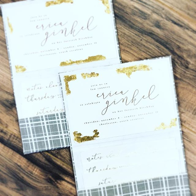...custom fabric paired with gold foil and torn edges...what a way to invites best friends to a fabulous birthday weekend!
