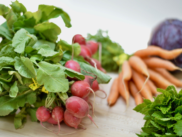 Radish, carrot, mint and cilantro salad with lime coconut dressing