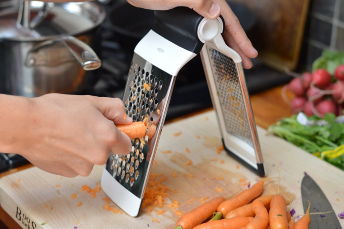 Functional medicine and nutrition: grating carrots