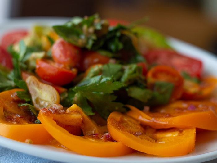 tomato, avocado and herb salad: food as medicine