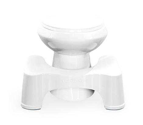 Behold. The Squatty Potty. (it's the stool at the base.) Very inexpensive. Comes in different designs. Not exactly a deep squat, but can be very helpful.