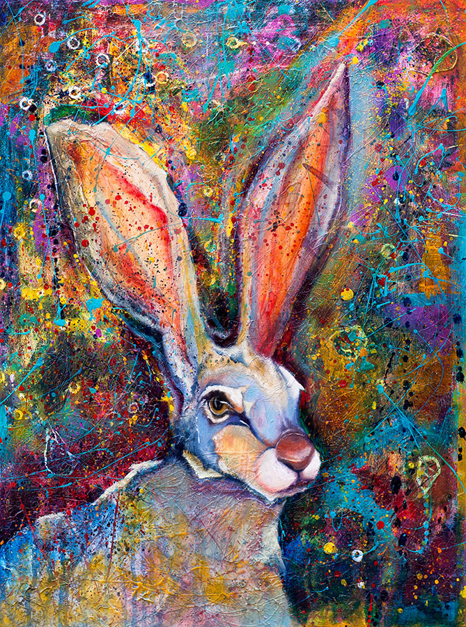 Cosmic Bunny 18x24 Oil on Panel