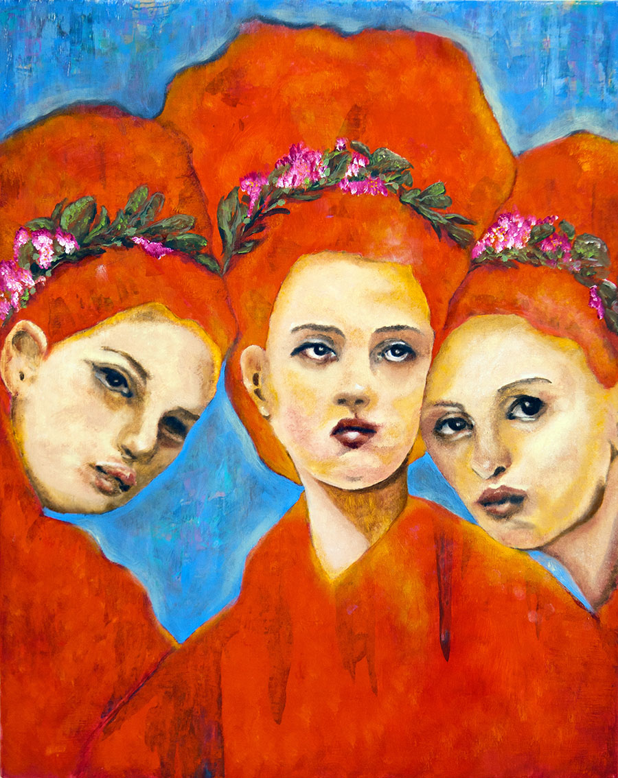 "The Three Graces 16x20 Oil on Clayboard Panel Juried into ""Visions: Empowerment in Bloom"" show, Houston, TX 2014. Hosted by Creative Women Unite"