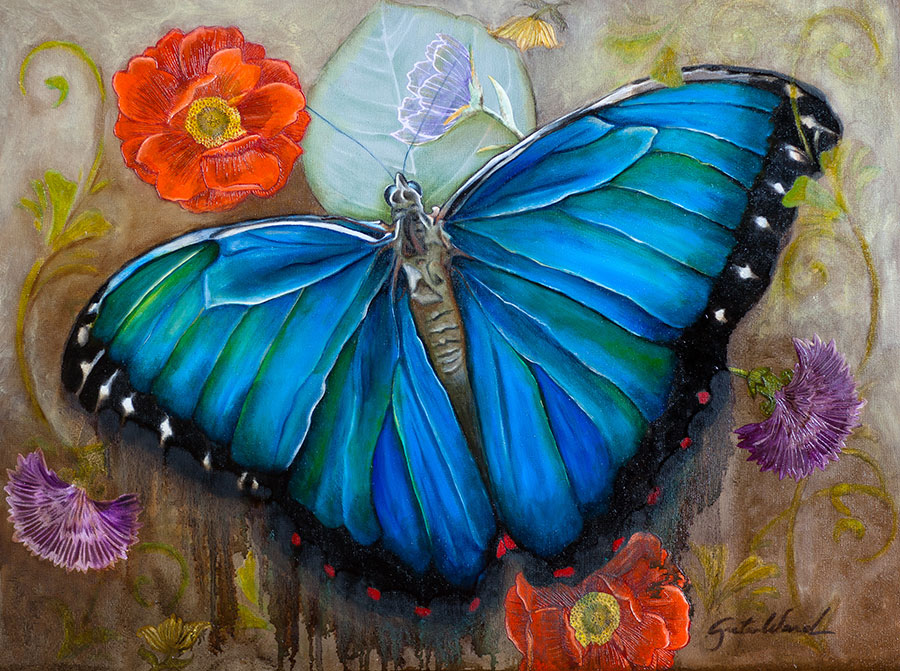 Blue Morpho 18x24 Oil on Panel