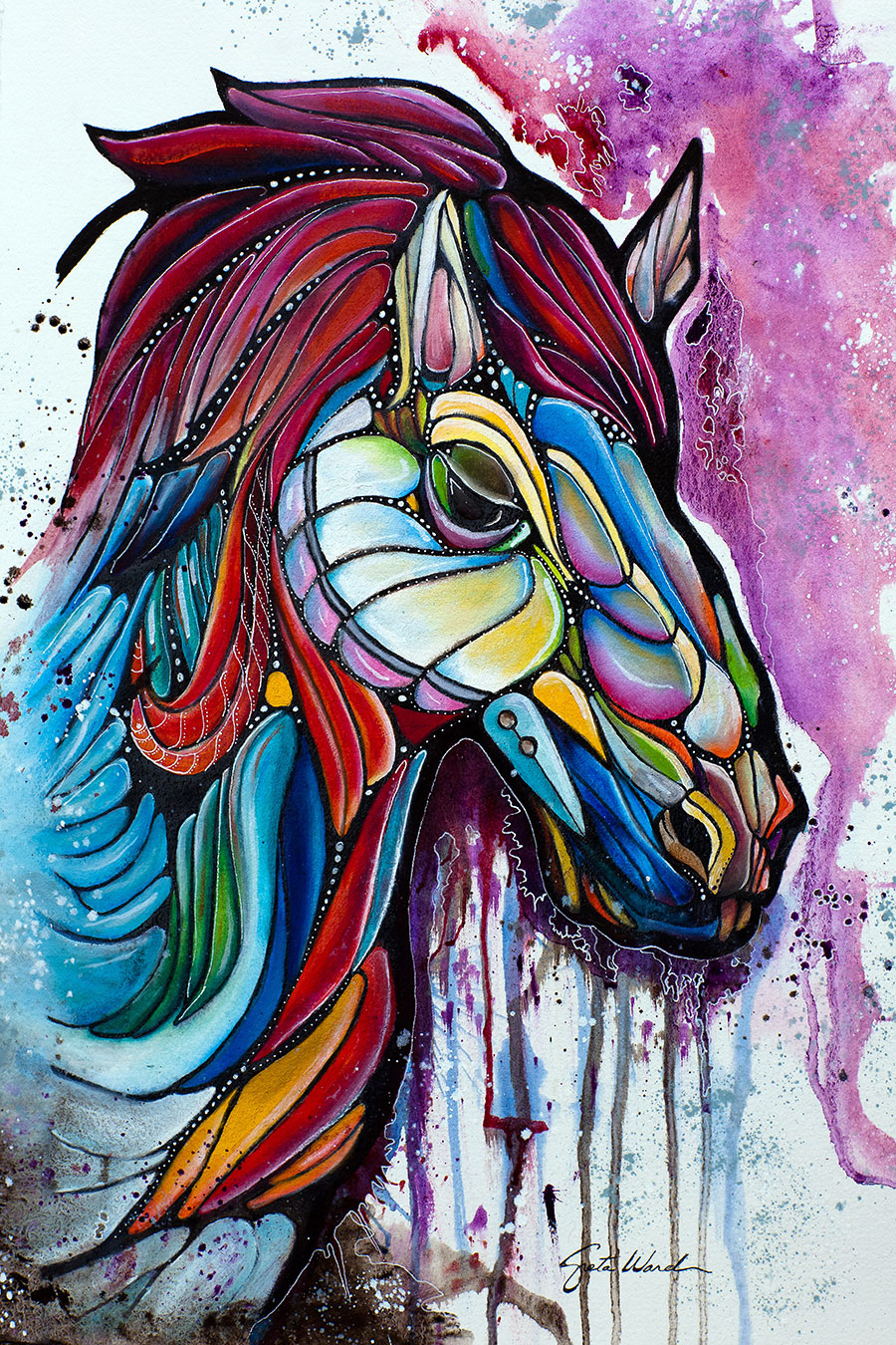 War Horse 11.25 x 15 Oil and Ink on Paper
