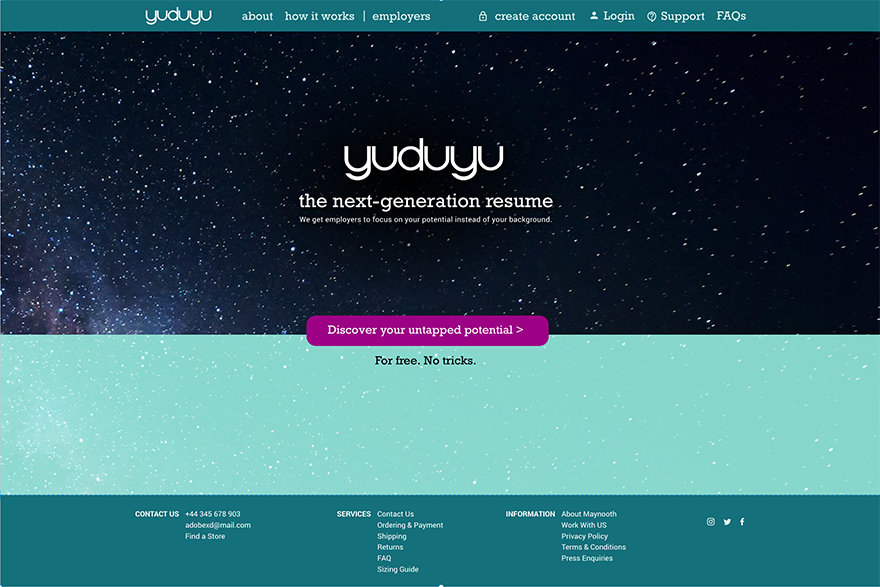 YUDUYU - Interactive prototype for a recruiting platform, serving job seekers with unusual profiles.