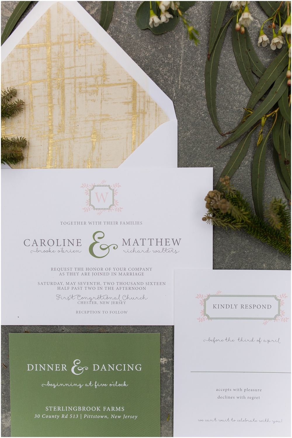 Styled Modern Invitation Suite | Peach and Mint