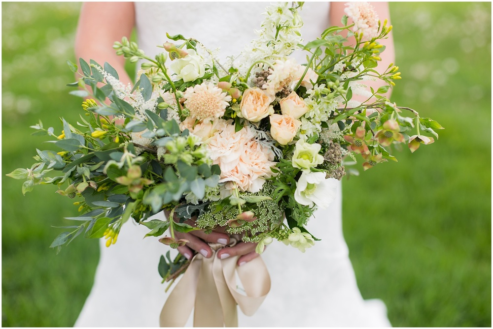 Loose wedding bouquet with dogwood
