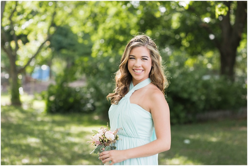 Morris County Wedding | NJ Wedding Photography | Bridesmaid in mint dress