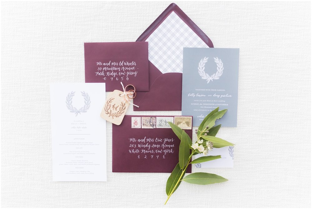 Romantic wedding details | Invitation Suite | Cedar Lakes Estate | Port Jervis, NY