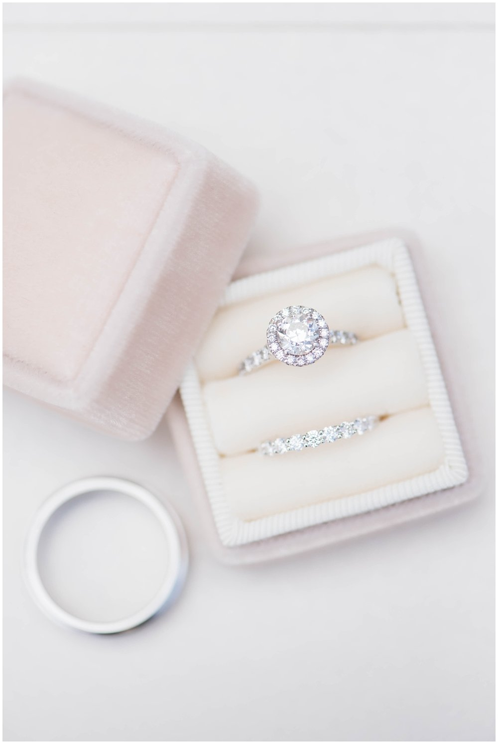 Diamond ring in blush velvet ring box