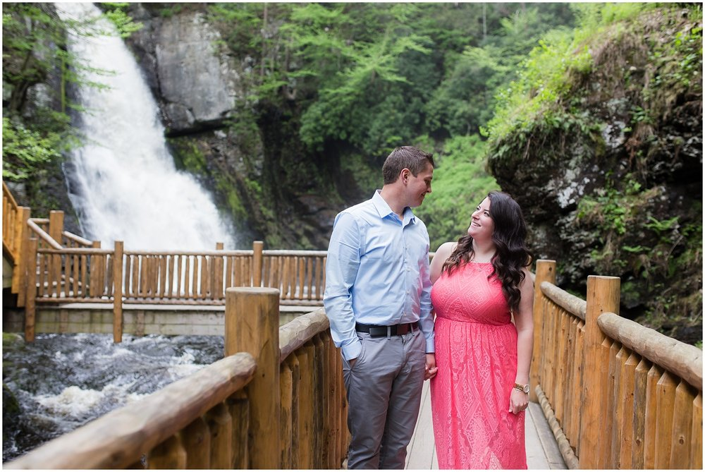 engagement portrait of couple at bushkill falls PA