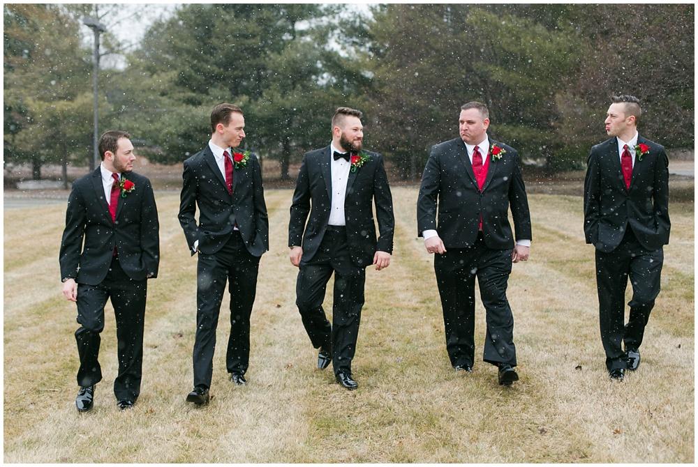 Snowy groomsmen portraits