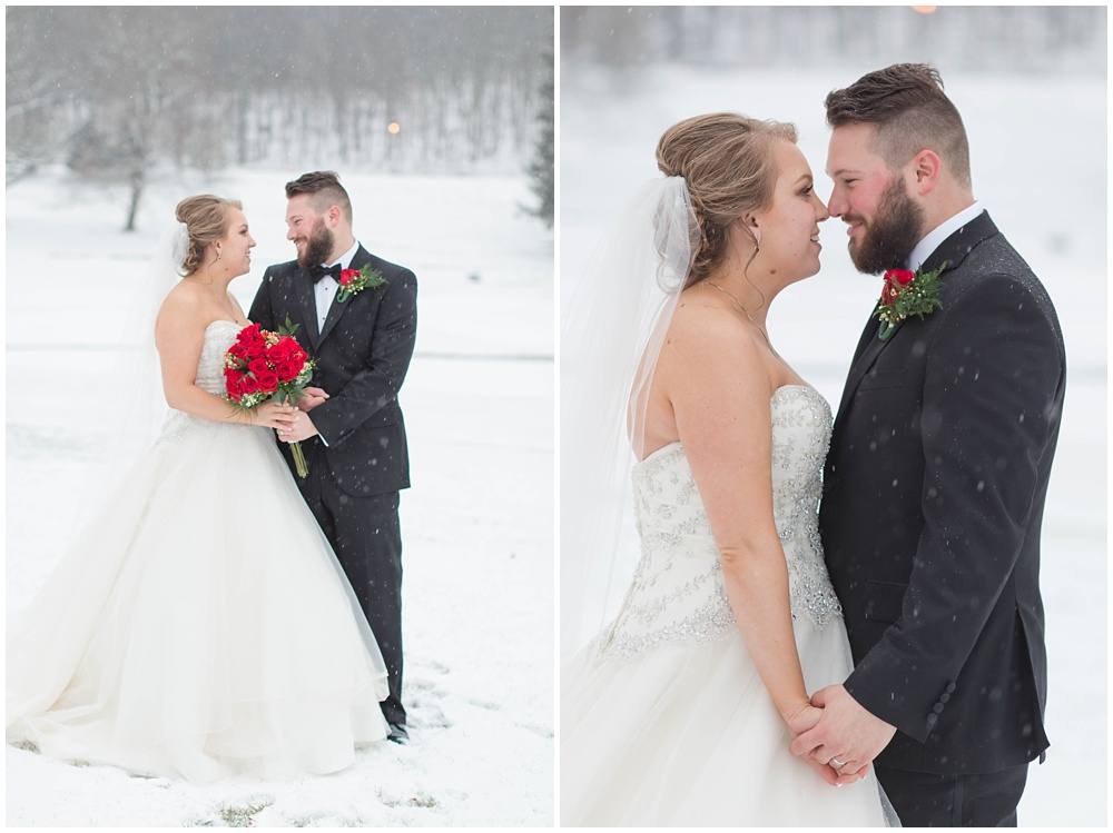 Snowy bride and groom portraits