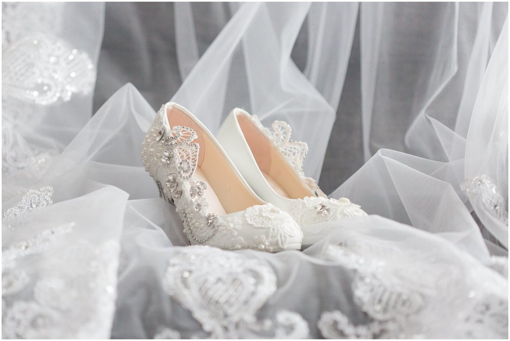 Lacey jeweled bridal shoes