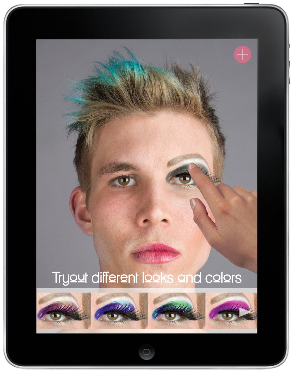 By touching the drag queen's facial features, you can tryout different looks and colors. You can also upload your own photo by touching the button at the top of the screen.