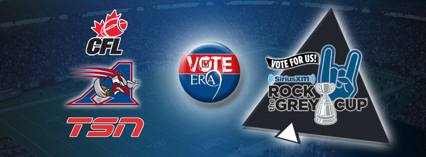 "The day is finally here! the SiriusXM Canada's ""Rock the Grey Cup"" contest voting site is up. Go visit ""www.rockthegreycup.ca"" or ""www.lesondelacoupegrey.ca"" to vote for yours truly: ERA 9! Not only will you be giving us a chance to play at the 100th Grey Cup Festival in Toronto on the week-end of November 22nd but, you will also get a chance to win a Grey Cup VIP package for two  to Toronto, all expenses paid! Let's show Canada that Montreal has the best fans in the nation! Help us out by voting once per day until voting closes (Sept 10th-Oct 12th)  Thank you very much and as always: ROCK ON!!! #VoteEra9 #CFL #CTV Montreal #Montreal Alouettes"