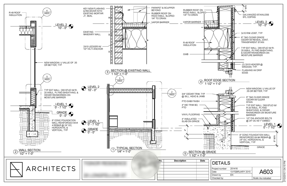 Typical residential detail drawing sheet,  ©   EN Architects