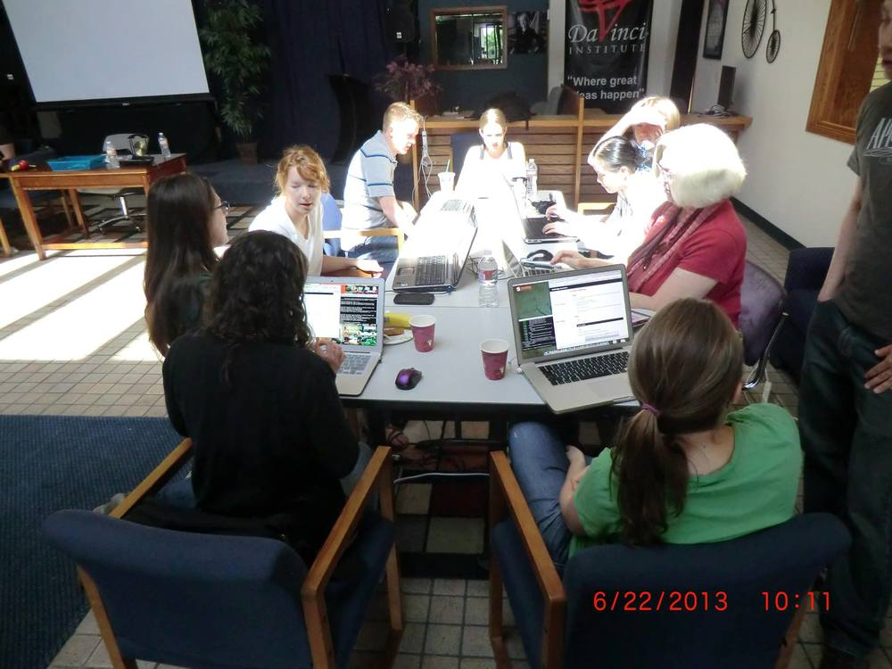 Teaching at RailsBridge, June 22, 2013 (far left)