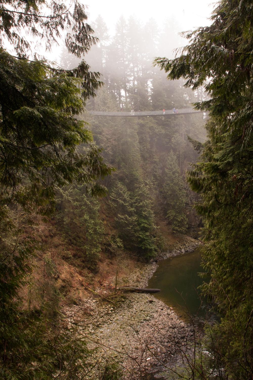 """Originally built in 1889, Capilano Suspension Bridge stretches 450 feet (137m) across and 230 feet (70m) above Capilano River""http://www.capbridge.com/explore/suspension-bridge/Photo: Jennifer Eliuk"