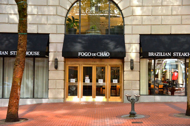 Now Open - Fogo de Chao, now with over 25 locations across the U.S. and Brazil, has opened the Portland restaurant in the former NikeTown location. The 8,500-square-foot, 250-seat restaurant, designed by Identity Architects, houses three private dining rooms, a glassed-in grilling area, a large salad bar display, bar, and the largest wine display in downtown Portland.