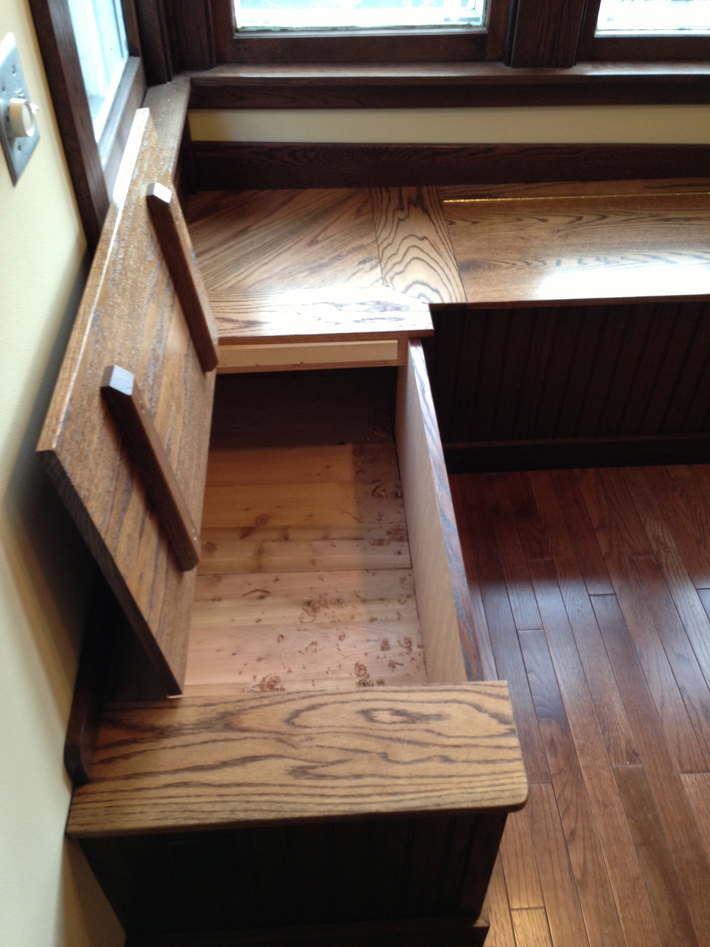 Window bench banquette dcw woodworks - Kitchen corner benches ...