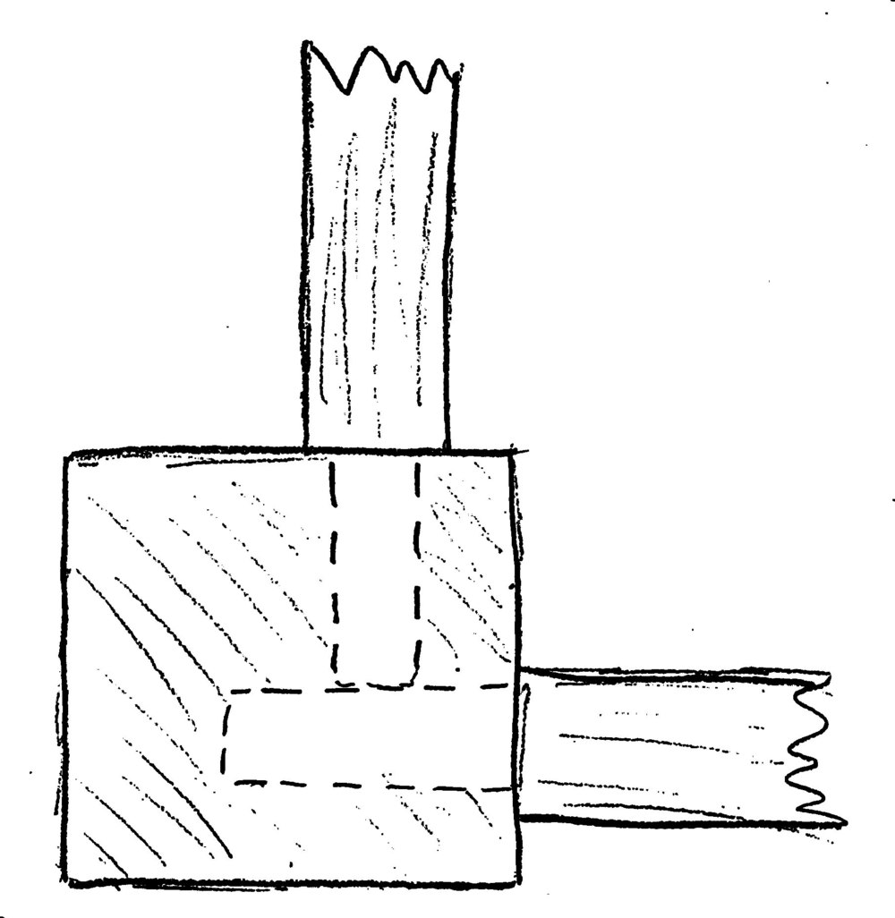 top view of a rear leg, showing the two tenons meeting on the inside.