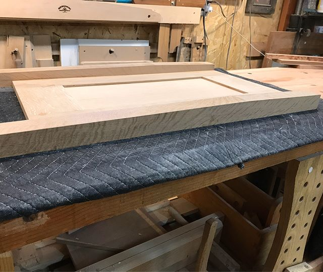 Side panels for a dresser. Can you see the subtle taper on the leg profile? Swipe to see it revealed. Its a Harvey Ellis element