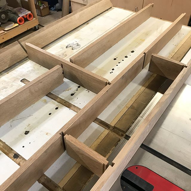 With all the joints cut, including mortise & tenons on the ends, & the one middle, the sliding dovetails, the top rail's bif flat dovetails, and the drawbore M&Ts on the bottom rail, AND some tongue & groove on the side panels, I'm ready to test assemble, then glue it up. Whew.