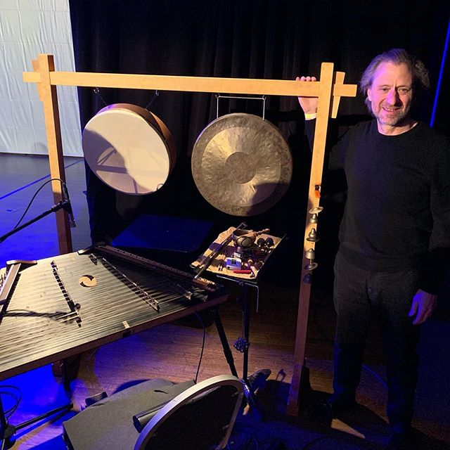 "Following a 27"" haircut after the correct size was figured out, here's the percussion stand and the musician Bill in situ after the performance of Shank's Mare at the Art Institute last week. It did not fall over."