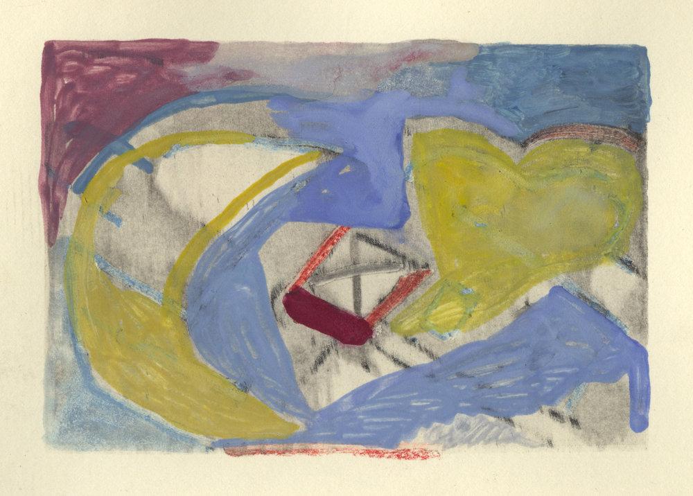 2017  Silkscreen monoprint with graphite, pastel, and gouache