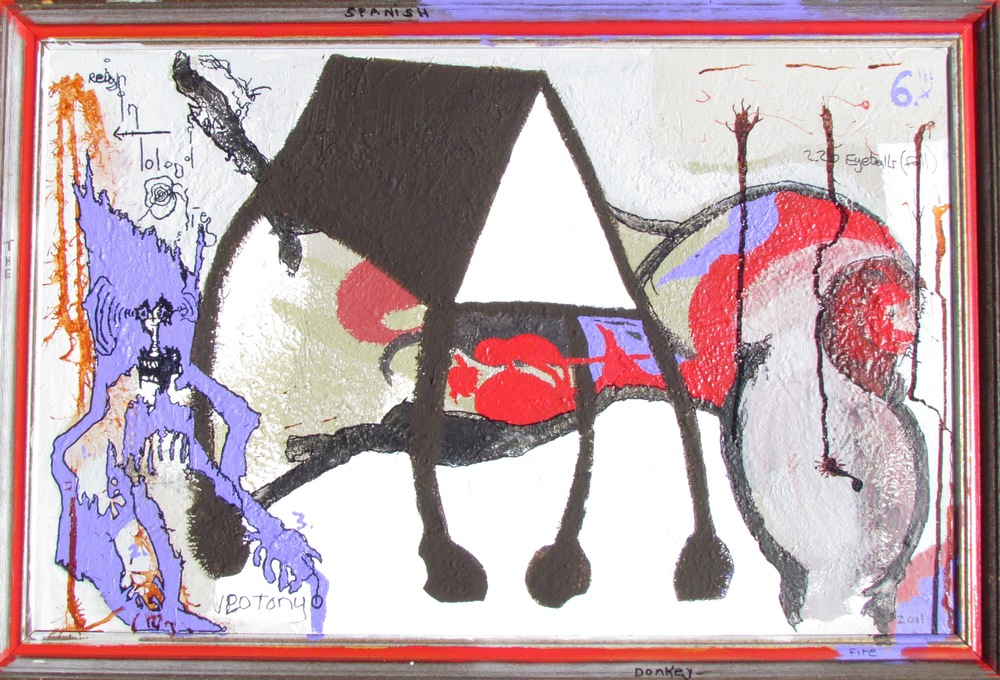 """The Spanish Donkey""  (2011, acryllic, oil & ink on canvas)"