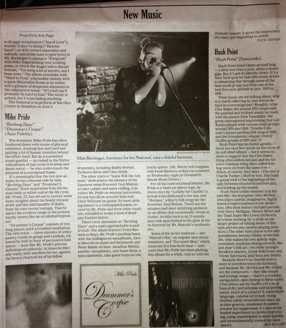 "New York Times dual review of ""Drummer's Corpse"" & ""Birthing Days"", by Nate Chinen.  May 21, 2013."