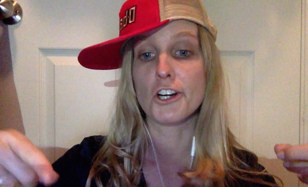 A screenshot of the video while recording the lyrics. Ihad to wear the hat to get in the rapping mood.