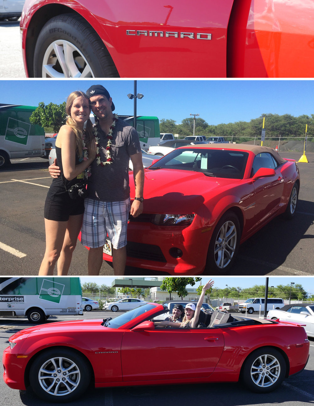 Surprising me with the Camero rental car!