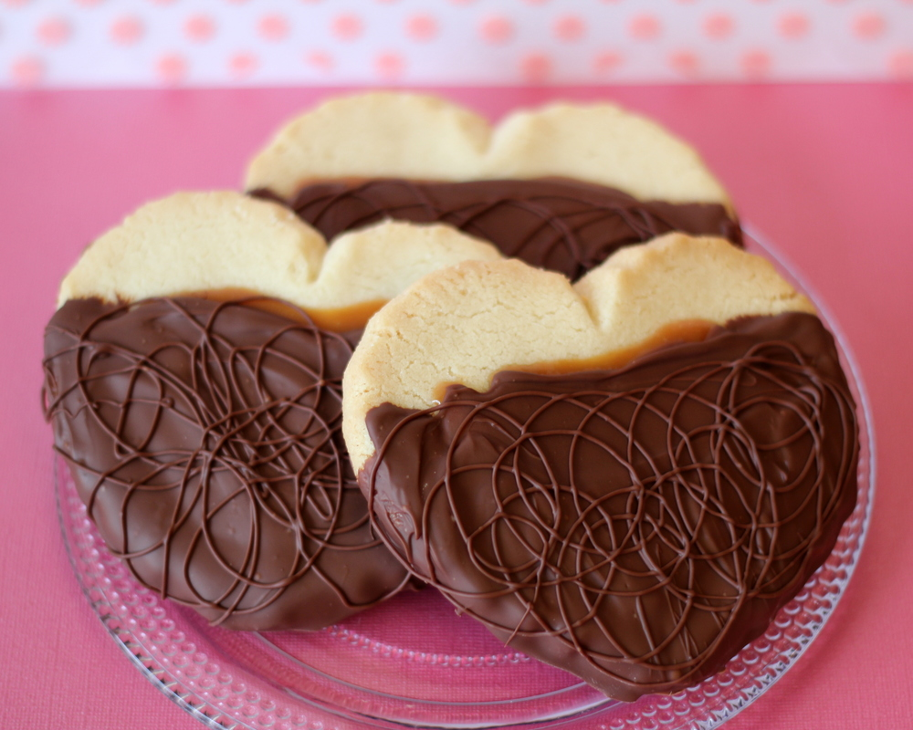 Valentine's Chocolate & Caramel Covered Butter Cookies