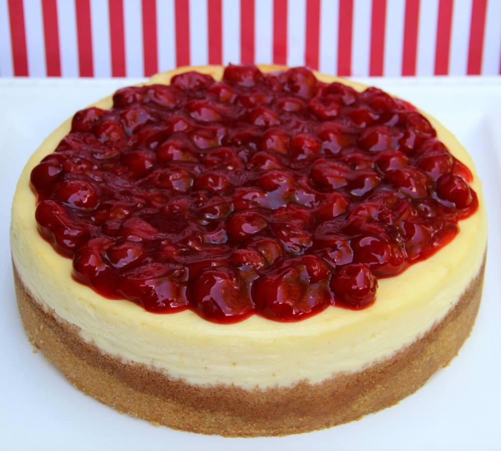 New York Style Cheesecake with Cherries