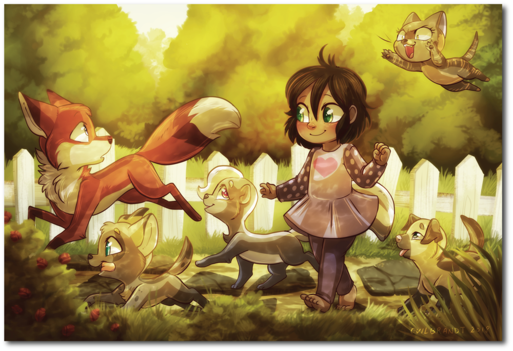There's also a little postcard print of Tamberlane and her oddly fourlegged woodland friends!