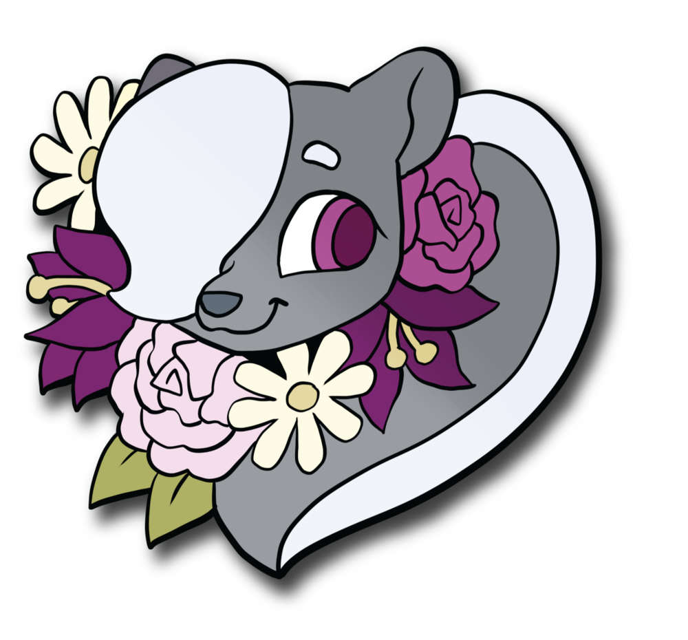 An enamel pin of Marie!!! (Colors on the flowers are slightly changed in the final, but only a little.) As of this writing we're just under $500 away from getting these pretty pins made.