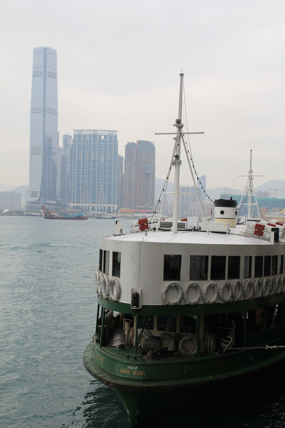 Star Ferry at the dock on Hong Kong island.