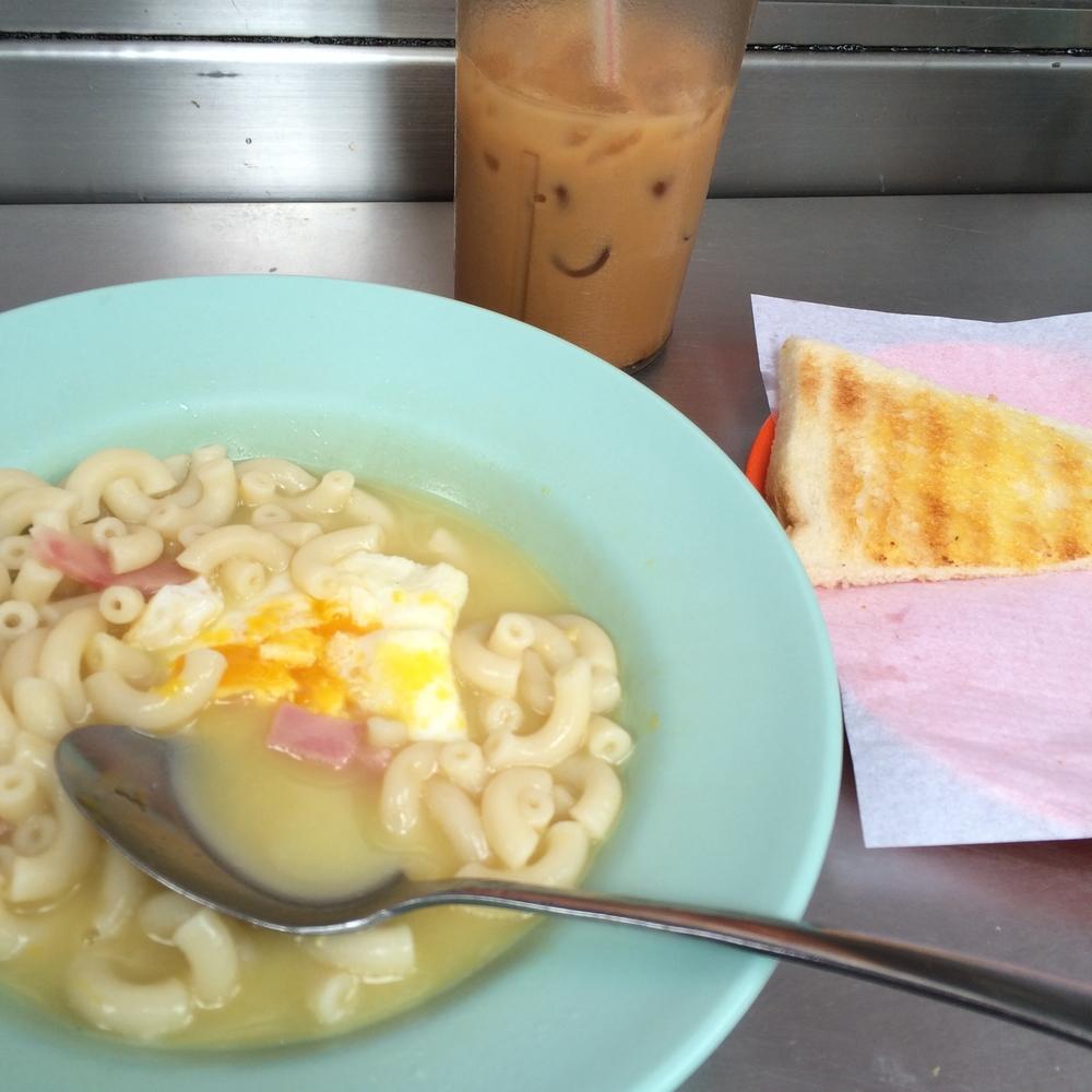 Cha chaan teng brekkie with a smiley milk tea.