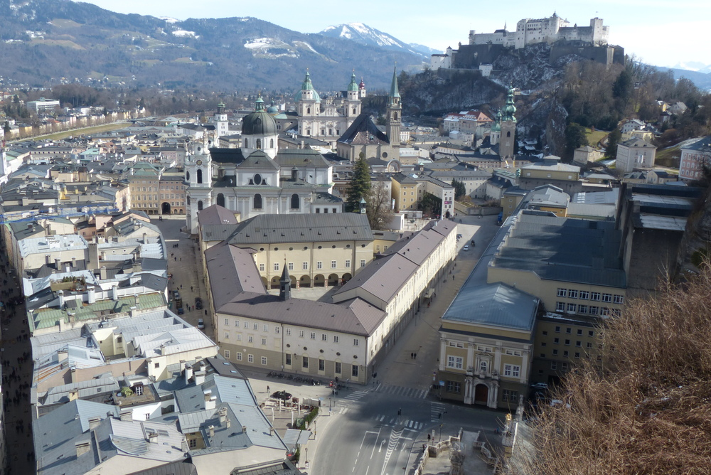 The Altstadt, as viewed from the Monchsberg—specifically, from the patio of the Museum der Moderne.