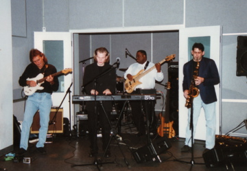 The After Hours record release party at Hinge Studios in Chicago, IL with Brian's band. L-R: Harry Mura (guitar), BC, Tom Hipskind (not seen on drums), Michael Manson (bass) & Steve Cole (tenor sax).
