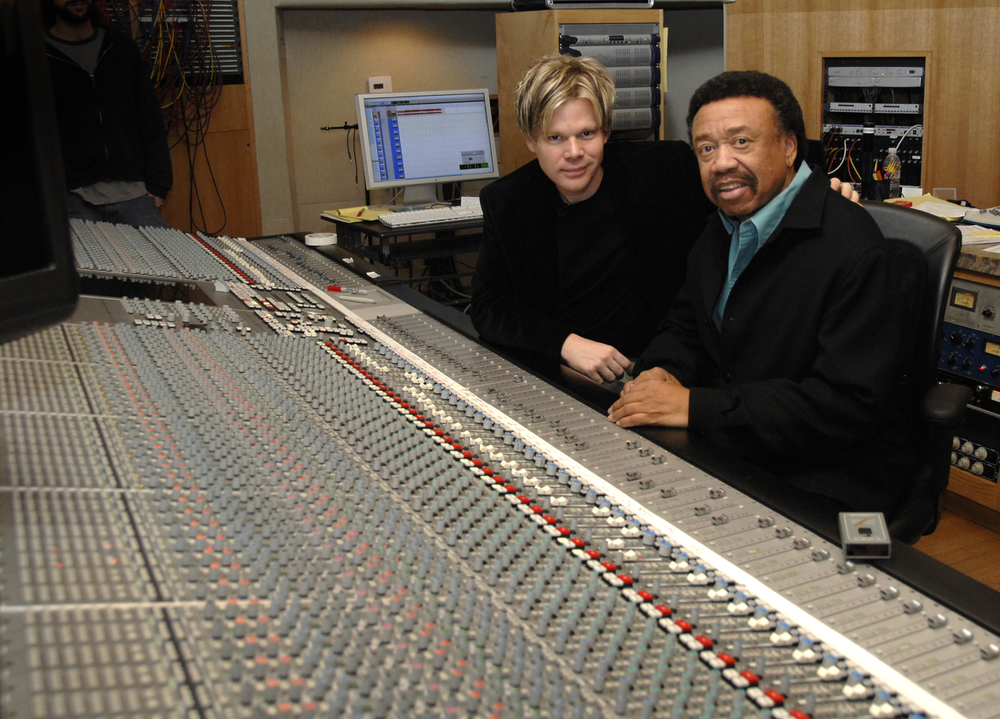 "Brian & Maurice at the studio while working on ""Bringing Back The Funk."""