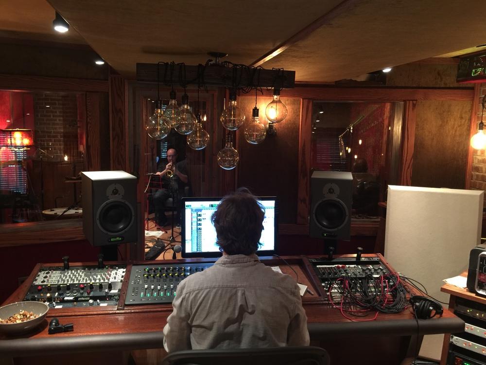 Michael Stever recording trumpet