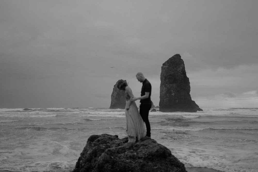 Oregon coast engagement session at cannon beach and ecola state park destination travel photographer sarah rose walk