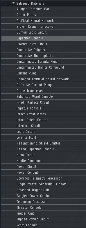 Market list of salvaged components
